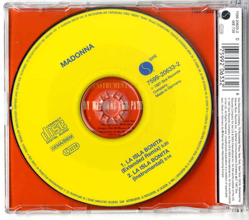 LA ISLA BONITA - UK / GERMANY CD SINGLE